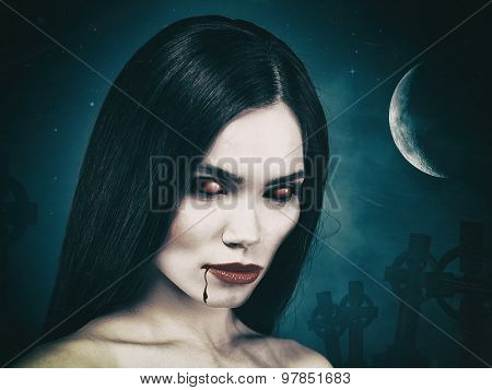 Bloody ghoul. Grungy Halloween backgrounds with vamp girl