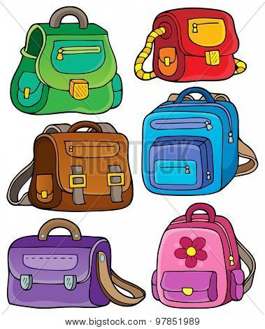 School bags theme set 1 - eps10 vector illustration.