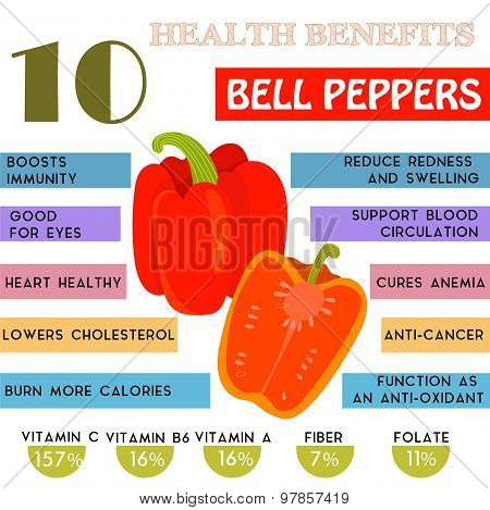 10 Health Benefits Information Of Bell Peppers. Nutrients Infographic,  Vector Illustration. - Stock