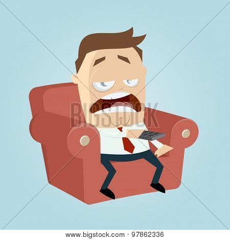 bored cartoon man on couch is zapping with remote control