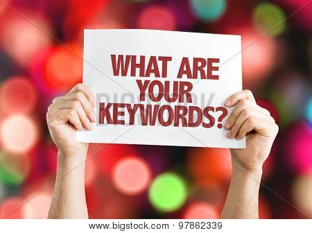 What Are Your Keywords card with bokeh background