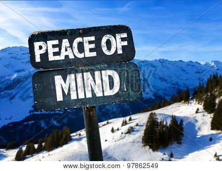Peace of Mind sign with winter landscape on background