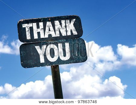 Thank You sign with clouds on background