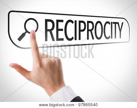 Reciprocity written in search bar on virtual screen