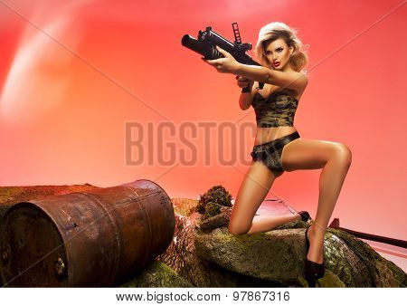 Sexy Blonde Woman With Rifle