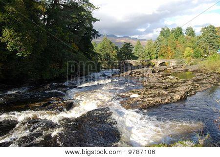 Bright Sky At Dochart Falls