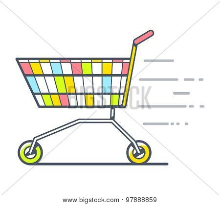 Vector Illustration Of Colorful Fast Moving Shopping Trolley Side View On White Background.