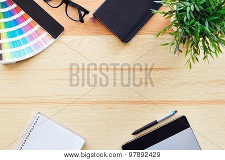 Top View Of Work Desk