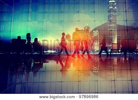 Commuter Travel Business People Corporate Walking Concept