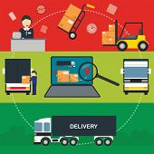Logistic infogrpaphics vector icon. Warehouse and logistic process. Logistic transport. Delivery service vector icon. Cargo delivery icon. Logistic technology. Warehouse process. Logistic concept. Logistic management. Logistic warehouse. Logistic service. poster