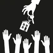 Vector real estate concept in flat style - hand real estate agent holding holds a key with a tag in the form of homes, and buyers are pulling their hands. Demand and supply. Black and white poster