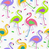Retro vintage 80s flamingo fashion style seamless pattern illustration background. Ideal for fabric design paper print and website backdrop. EPS10 vector file. poster