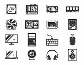 Computer components icon set: processor, motherboard, RAM, video card, hdd,ssd, sshd, power unit, cooler // Black & White poster