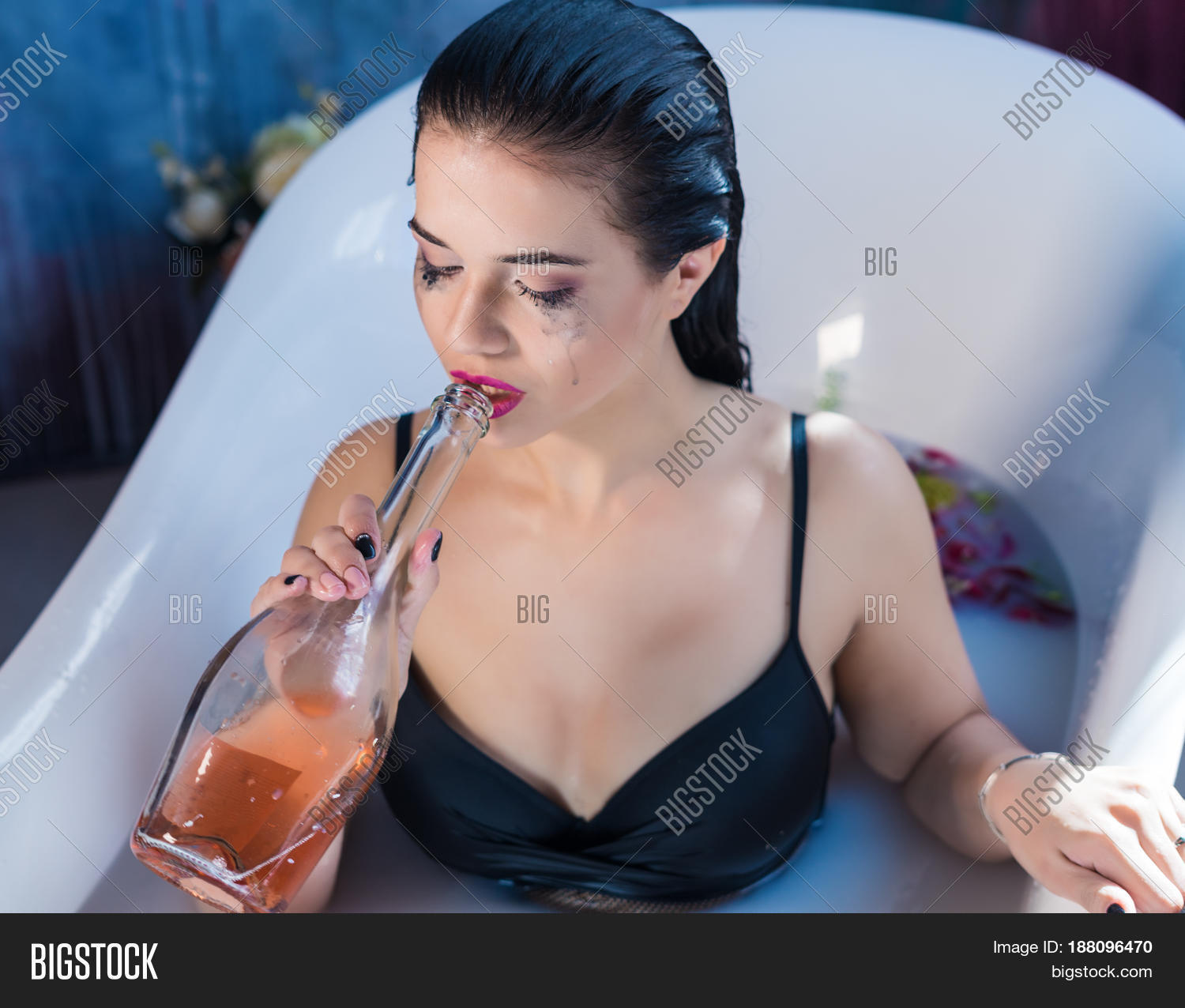 sexy brunette drunk woman relaxing image & photo | bigstock