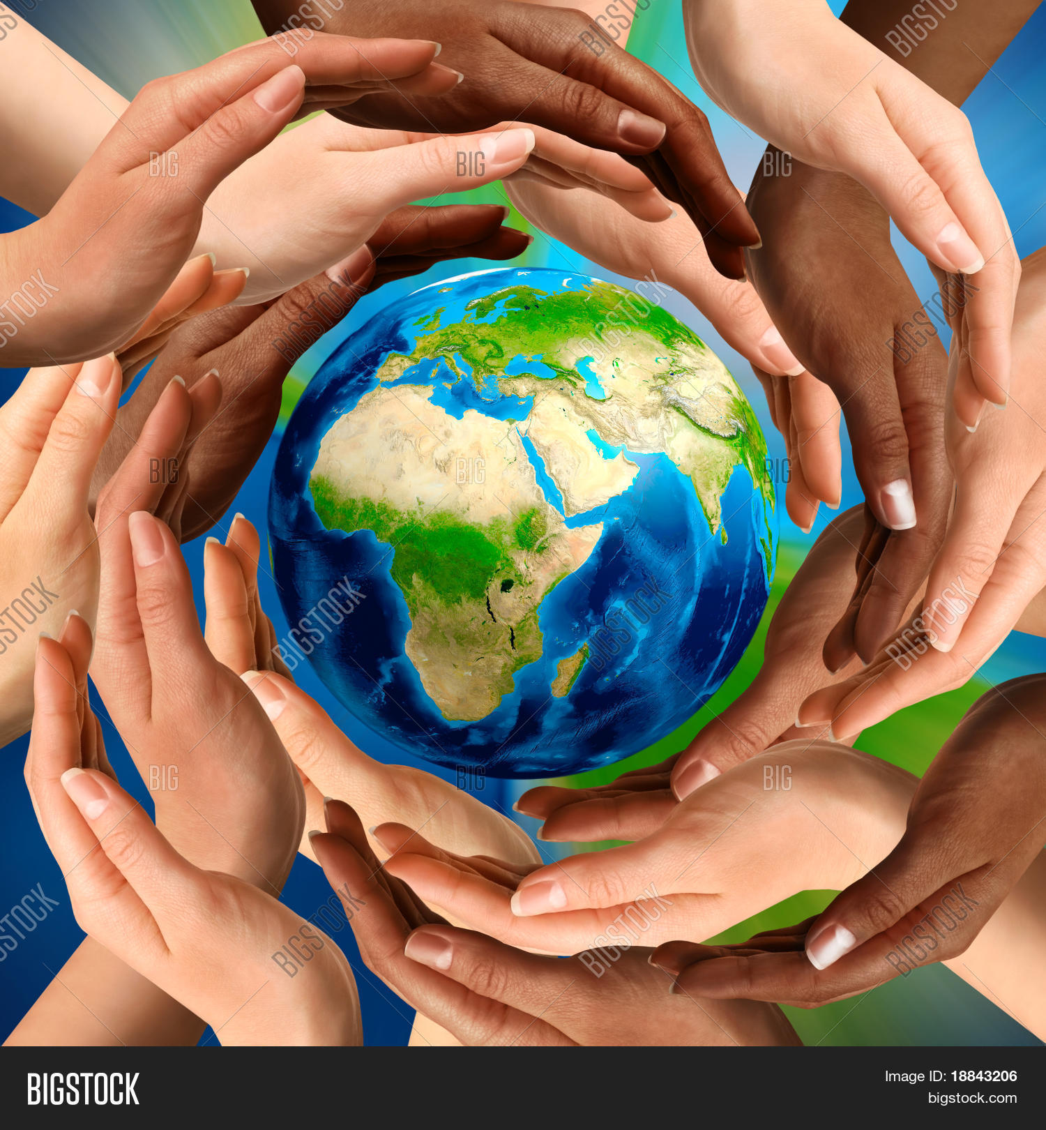 Beautiful conceptual symbol earth image photo bigstock beautiful conceptual symbol of the earth globe with multiracial human hands around it unity and biocorpaavc
