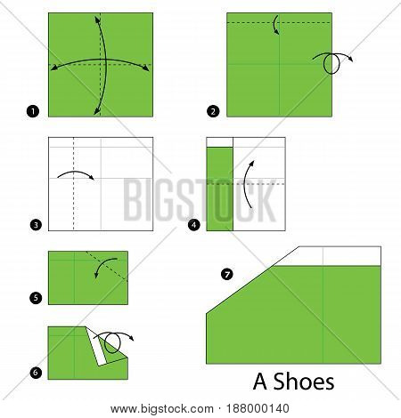step by step instructions how to make origami A Shoes.