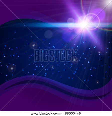 Abstract purple cosmic background. Starry space with sparkles, bokeh and lights. Deep dark space with telescope lens flare effect. Shiny bright flash rays in universe. Big bang in night sky.