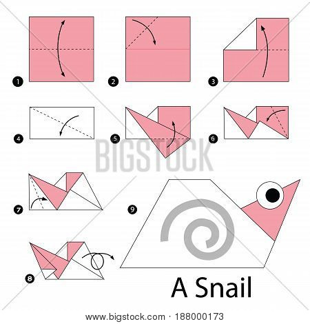 step by step instructions how to make origami A Snail.