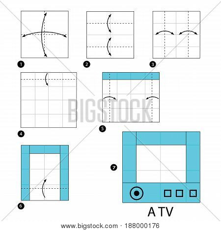 step by step instructions how to make origami A TV.