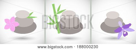 Spa stones icons set Flat design of medicine and orient massage with round shadow vector illustration