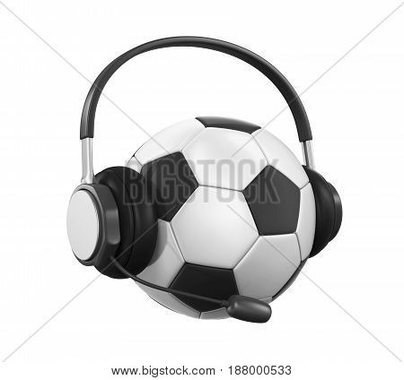Soccer Ball with Headset isolated on white background. 3D render