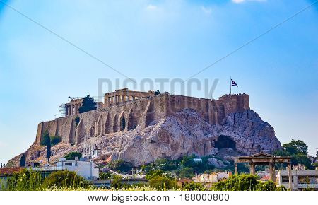 Parthenon temple on the Athenian Acropolis dedicated to the maiden goddess Athena Greece Athens Acropolis