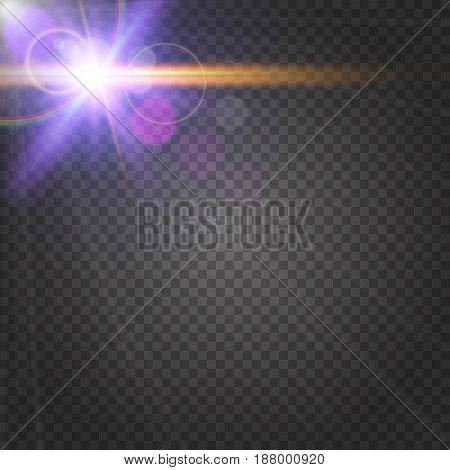 Abstract purple shiny flare on transparent background. Sunshine lens flare effect. Glowing light rays, bokeh, blur and sparkles in glitter bright line. Sun flash with beam and spotlight. Vector EPS 10