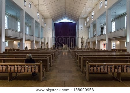 STUTTGART GERMANY - MARCH 01 2017: Interior of the St. Eberhard's Cathedral - a church of the Roman Catholic Diocese of Rottenburg-Stuttgart.
