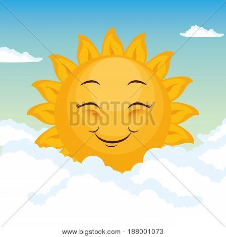 Smiling sun and clouds blue background, Vector illustration.