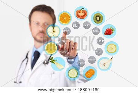 healthy food concept Hand of nutritionist doctor pointing fruit with finger