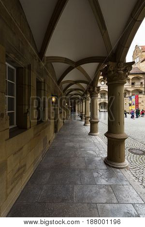 STUTTGART GERMANY - MARCH 01 2017: Inner courtyard of the Old Castle (10th century). Stuttgart is the capital and the largest city of the state of Baden-Wuerttemberg.