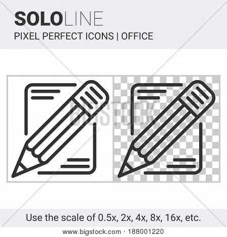 Pixel perfect solo line pencil and paper icon on white and transparent background for responsive web or product design. Designed for use on most web sites and applications