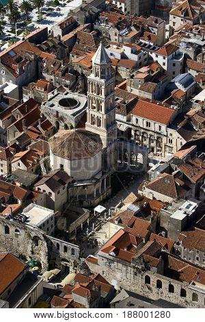 Aerial view of St Domnius Cathedral and Peristyle in center of Diocletian Palace town Split Croatia
