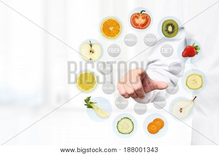 healthy food concept Hand of nutritionist doctor pointing fruit