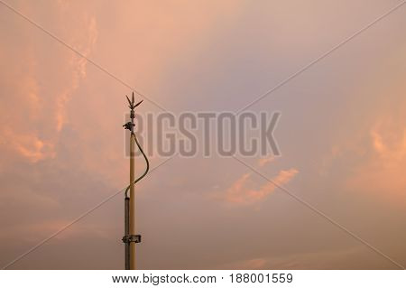 Lightning rods lightning protection on sun set.