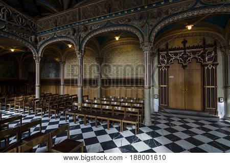 STUTTGART GERMANY - MARCH 01 2017: Interior of castle church of the Old Castle (10th century). Stuttgart is the capital and largest city of the state of Baden-Wuerttemberg.