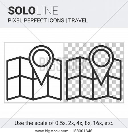 Pixel perfect solo line map with pin icon on white and transparent background for responsive web or product design. Can be used in web sites and apps for travel map and navigation