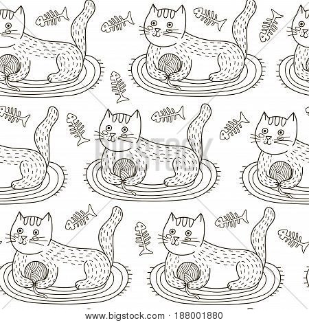 Vector seamless pattern with cute cat playing with a ball of yarn. Black and white print for coloring book and children design. Doodle funny kitten background