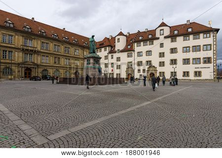 STUTTGART GERMANY - MARCH 01 2017: Schillerplatz - square in the old city named in honor of the German poet Friedrich Schiller. In the background Prinzenbau building and Alte Kanzlei (The Old Chancellery).