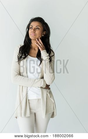 Pensive Attractive African American Woman Posing Isolated On White
