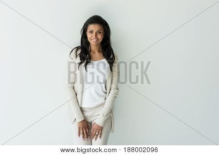 Attractive African American Woman Looking At Camera Isolated On White
