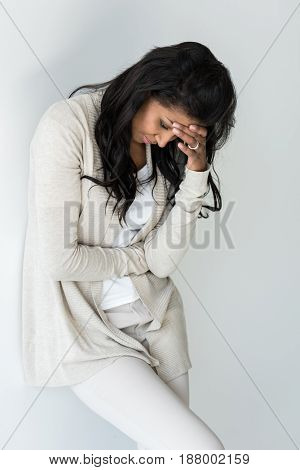 Attractive Upset African American Woman With Headache Isolated On White