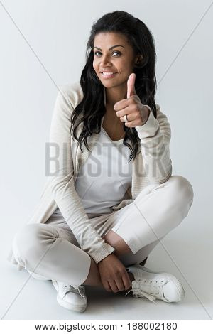 Attractive African American Woman Showing Thumb Up Isolated On White