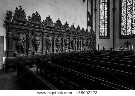 STUTTGART GERMANY - MARCH 01 2017: Interior of the Stiftskirche (Collegiate Church) - main church of the Evangelical-Lutheran Church in Wuerttemberg. Black and white.