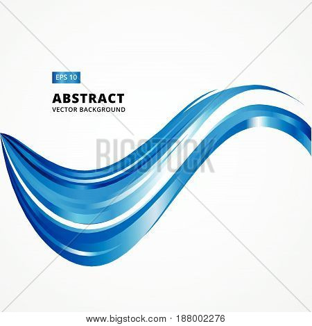 Abstract Curved lines, blue waves. Vector illustration background. for print, magazine, brochure, leaflet, ad, copy space