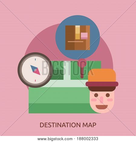 Destination Map Conceptual Design | Great flat illustration concept icon and use for cargo, delivery, transportation, business and much more