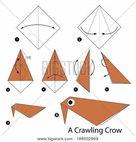 Step by step instructions how to make origami A Crawling Crow.