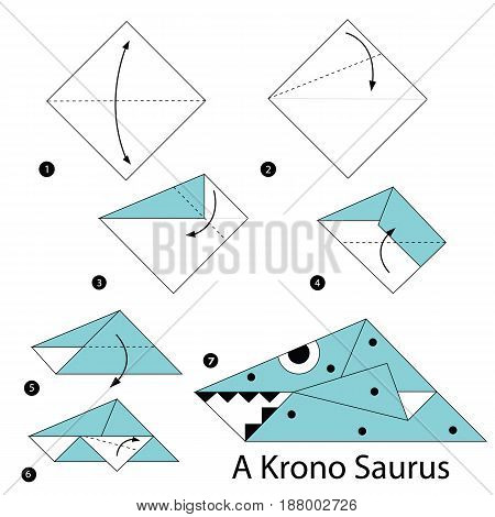 step by step instructions how to make an origami A Dinosaur.