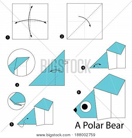 Step by step instructions how to make origami A Polar Bear.