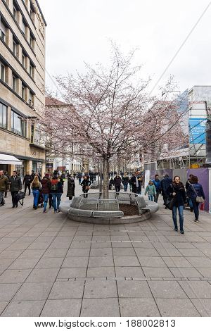 STUTTGART GERMANY - MARCH 01 2017: Royal Street (Koenigstrasse) - a popular shopping street in the historic center. Stuttgart is the capital and the largest city of the state of Baden-Wuerttemberg.